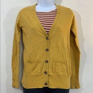 Mossimo mustard yellow preppy V-neck cardigan